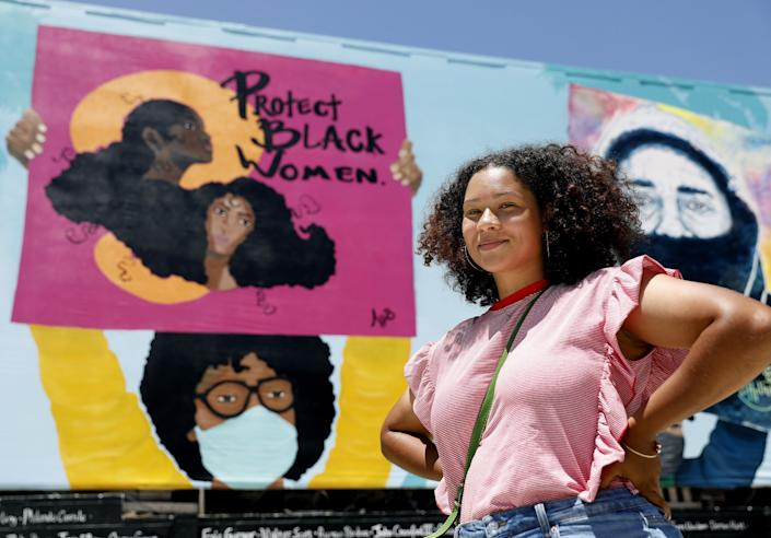 Alexandra Allie Belisle painted part of the Hollywood mural dedicated to Black Lives Matter.