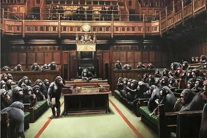 Banksy's 'Devolved Parliament' Painting Depicting MPs as Chimpanzees Up for Sale