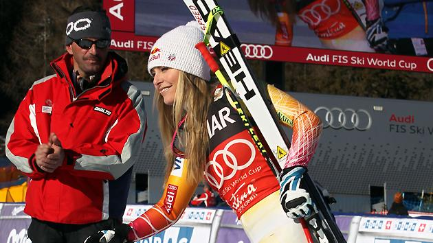 Lindsey Vonn of the USA takes 1st place during the Audi FIS Alpine Ski World Cup Women's SuperG on January 15, 2012 in Cortina d'Ampezzo, Italy.