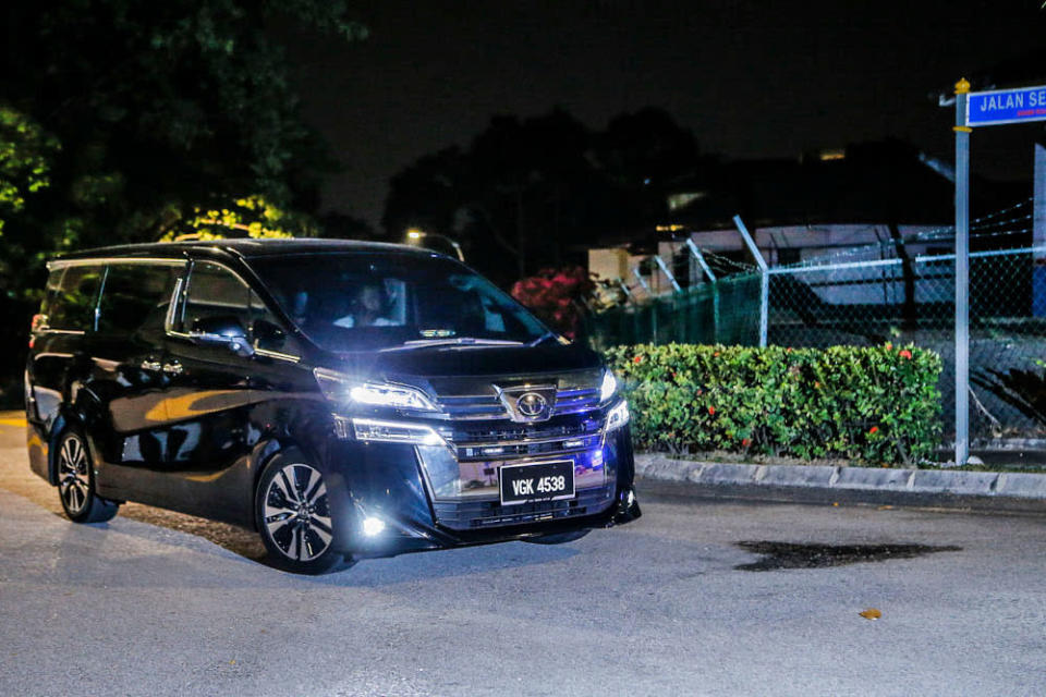 A vehicle carrying Deputy Prime Minister Datuk Seri Ismail Sabri seen entering the residence of Prime Minister Tan Sri Muhyiddin Yassin in Bukit Damansara at 8.51pm, August 3, 2021. ― Picture by Hari Anggara