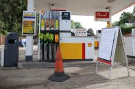 A Shell petrol station that has run out of fuel is seen in Northwich