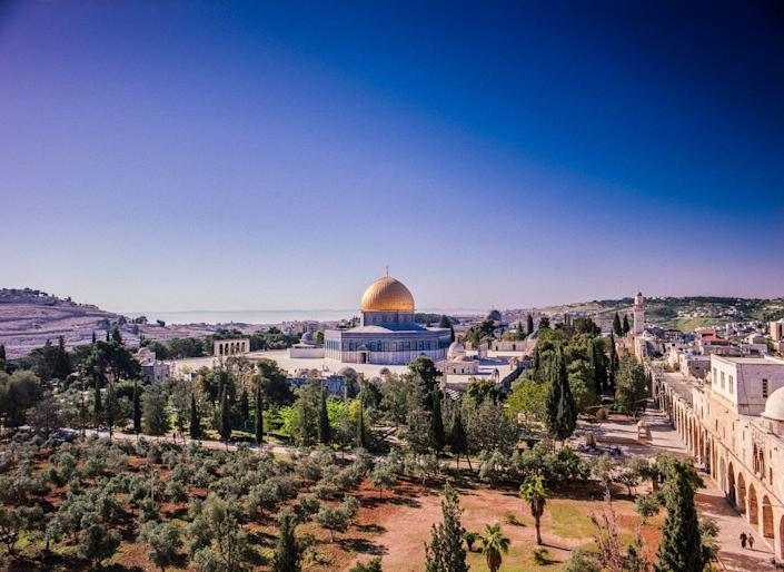 "Al-Masjid al-Aqsa, meaning ""The Furthest Mosque"" is one of the three most important sites in Sunni Islam. At its centre is the Dome of the Rock. The entire area takes up one sixth of the walled city of Jerusalem."