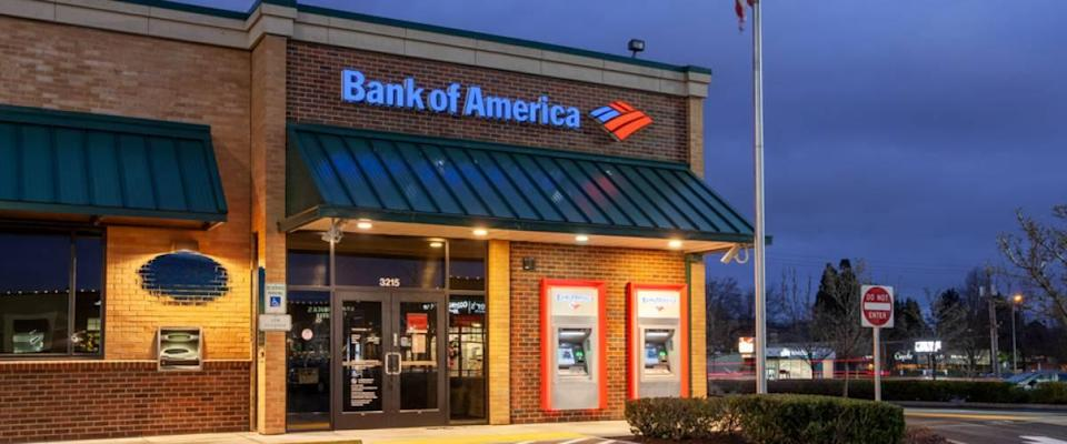 Bank of America branch building in Beaverton at twilight