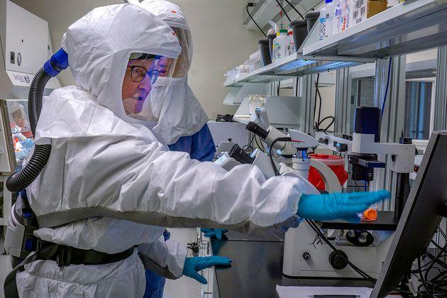In this publicity photo from the University of Saskatchewan, researchers at VIDO-InterVac work on a COVID-19 vaccine.