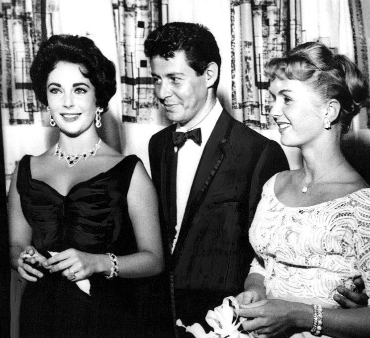 Elizabeth Taylor, Eddie Fisher, Debbie Reynolds at the Tropicana Hotel in Las Vegas, June 19, 1958 (Photo: Everett Collection)