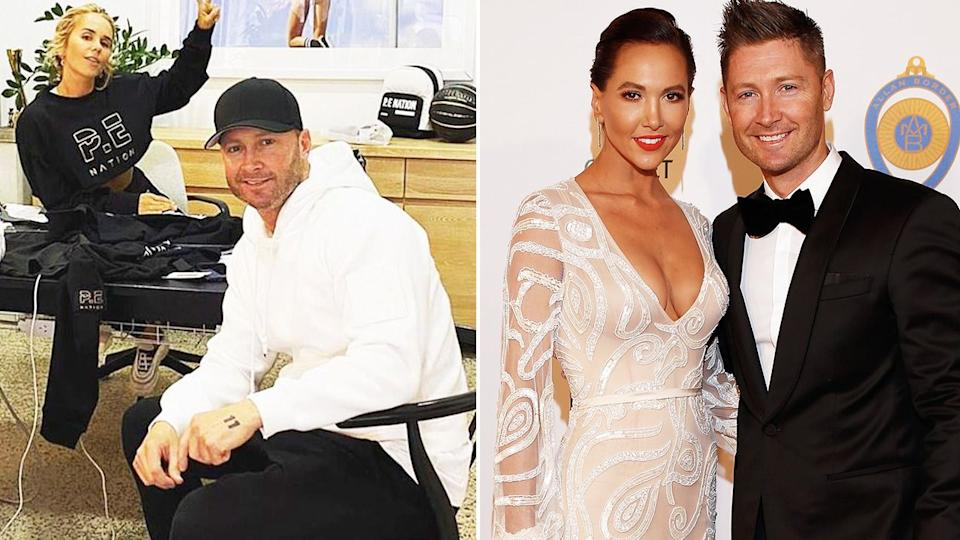 Pictured here, Michael Clarke with Pip Edwards (L) and estranged wife Kyly (R).