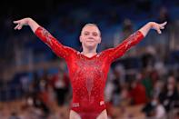 <p>Jade Care is a 21 year old gymnast from Phoenix, AZ who is competing in the all-around competition in place of Simone Biles. This is her first Olympics. </p>