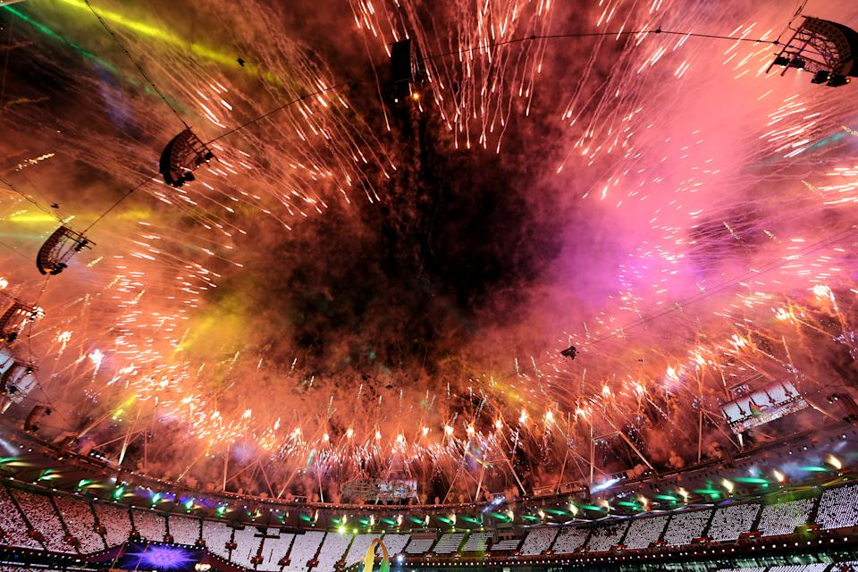 Fireworks explode over the stadium during the Closing Ceremony on Day 16 of the London 2012 Olympic Games at Olympic Stadium on August 12, 2012 in London, England. (Photo by Scott Heavey/Getty Images)
