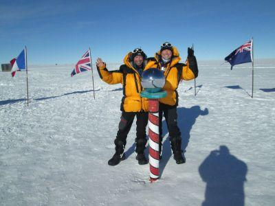 Nick and Simon from another trek team pose at the South Pole.