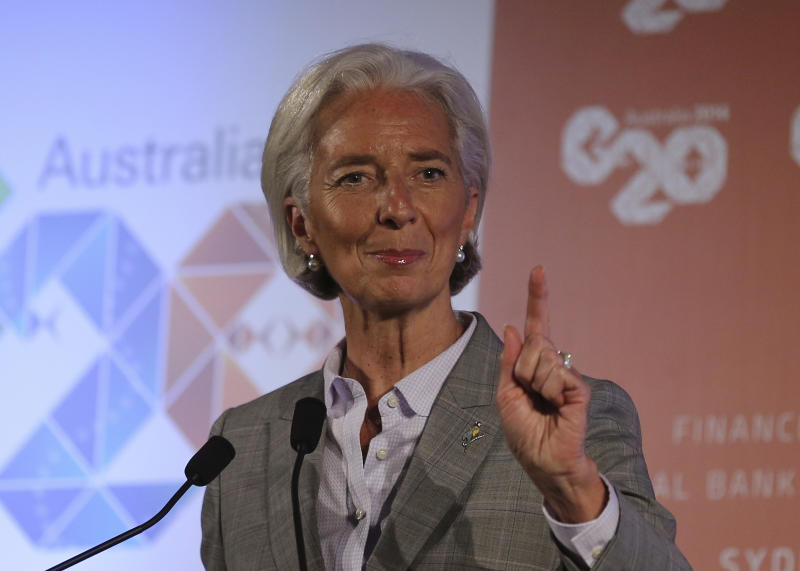Managing Director of the International Monetary Fund Christine Lagarde gestures as she delivers a closing statement to the media during a press conference at the G-20 Finance Ministers and Central Bank Governors meeting in Sydney, Australia, Sunday, Feb. 23, 2014.(AP Photo/Rob Griffith)