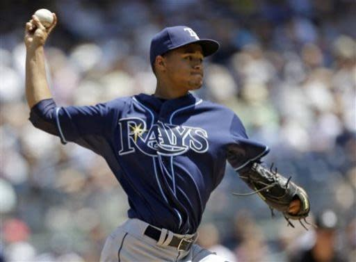 Tampa Bay Rays starting pitcher Chris Archer delivers in the first inning against the New York Yankees in a baseball game on Sunday, June 23, 2013, in New York. (AP Photo/Kathy Willens)