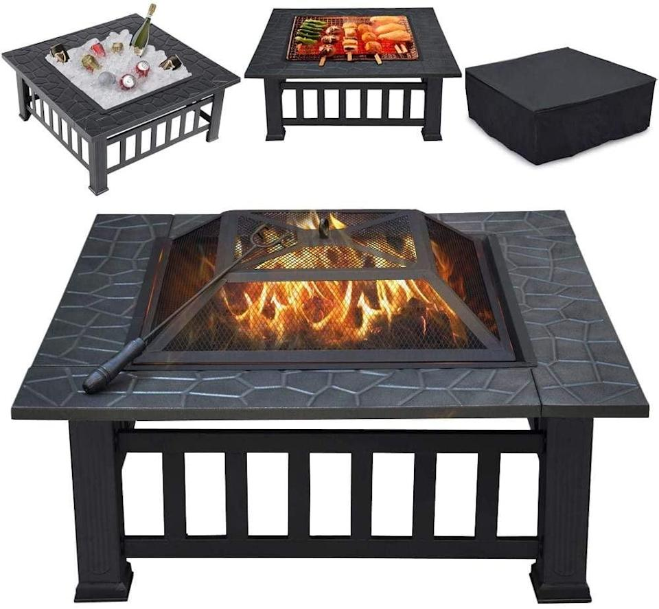 """<p>Keep drinks on ice, keep warm with a bonfire, or roast and grill your favorite meats and veggies right in front of you with this chic <span>Yaheetech Multifunctional 32"""" Fire Pit Table</span> ($90).</p>"""