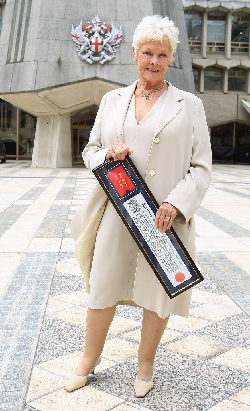 <p>The Freedom of the City of London is awarded to those who have achieved success or recognition in their field. The honor was bestowed on Dench at the Guildhall in London.</p>