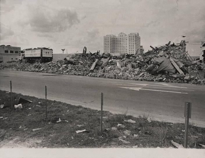 What was left of Miami's Drug Enforcement Administration building after the 1974 collapse.