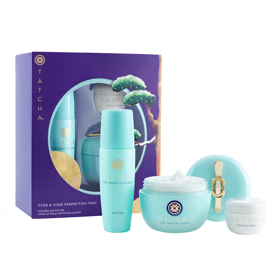 """We already know Tatcha is partially <a href=""""https://www.glamour.com/story/tatcha-sale-skin-care?mbid=synd_yahoo_rss"""" rel=""""nofollow noopener"""" target=""""_blank"""" data-ylk=""""slk:the secret to Meghan Markle's radiant glow"""" class=""""link rapid-noclick-resp"""">the secret to Meghan Markle's radiant glow</a>. (The other part is genetics and <a href=""""https://www.glamour.com/story/meghan-markle-mouth-massage?mbid=synd_yahoo_rss"""" rel=""""nofollow noopener"""" target=""""_blank"""" data-ylk=""""slk:this face massage"""" class=""""link rapid-noclick-resp"""">this face massage</a>.) Steal what you can from her with this set featuring Tatcha's Deep Cleanse, Water Cream, and Silk Peony Eye Cream. $72, Sephora. <a href=""""https://www.sephora.com/product/tatcha-pure-glowing-travelling-trio-P461538"""" rel=""""nofollow noopener"""" target=""""_blank"""" data-ylk=""""slk:Get it now!"""" class=""""link rapid-noclick-resp"""">Get it now!</a>"""
