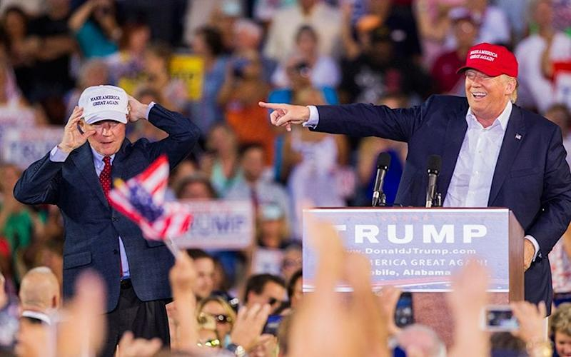 Jeff Sessions on the campaign trail with Donald Trump in August 2016 - Credit: Getty Images