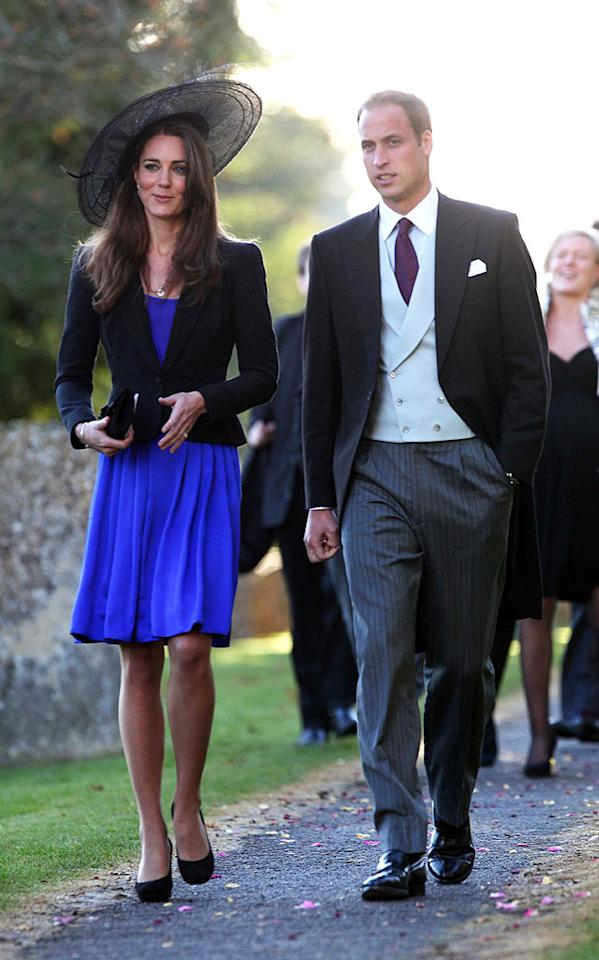 """Notoriously private, and rarely photographed together, Prince William and his longtime girlfriend Kate Middleton stepped out together in full view of photographers while at a friend's wedding in Gloucestershire, England over the weekend, sparking speculation that an official engagement announcement may be imminent. Do you think Kate will make a good Queen of England some day? <a href=""""http://www.splashnewsonline.com"""" target=""""new"""">Splash News</a> - October 23, 2010"""