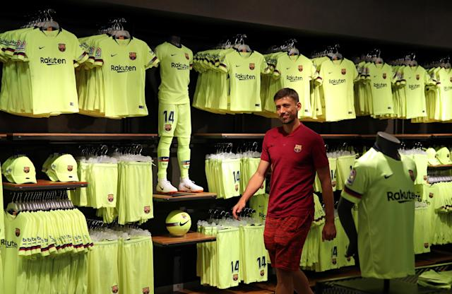 French soccer player Clement Lenglet arrives at a FC Barcelona's shop for a photocall next to Camp Nou stadium in Barcelona, Spain July 12, 2018. REUTERS/Albert Gea