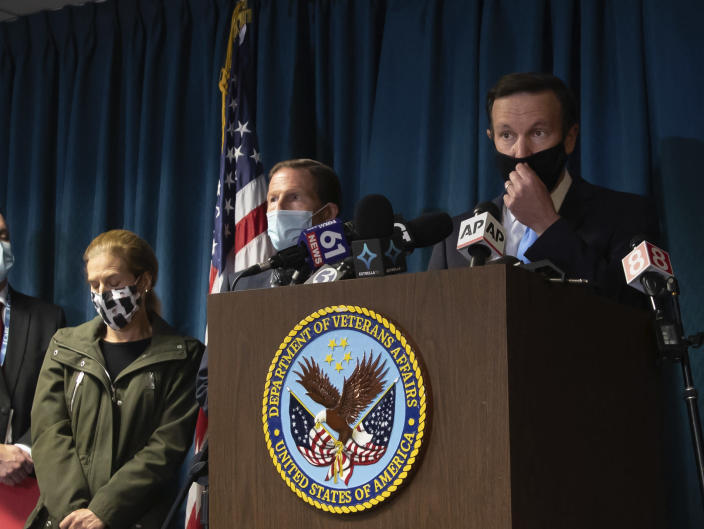 Sen. Chris Murphy, D-Conn, addresses the media at news conference inside the campus of the VA Connecticut Healthcare System West Haven, Friday, Nov. 13, 2020 in West Haven, Conn. Two workers were killed in an explosion on Friday while repairing a steam pipe at a maintenance building on the hospital campus. (AP Photo/Robert Bumsted)