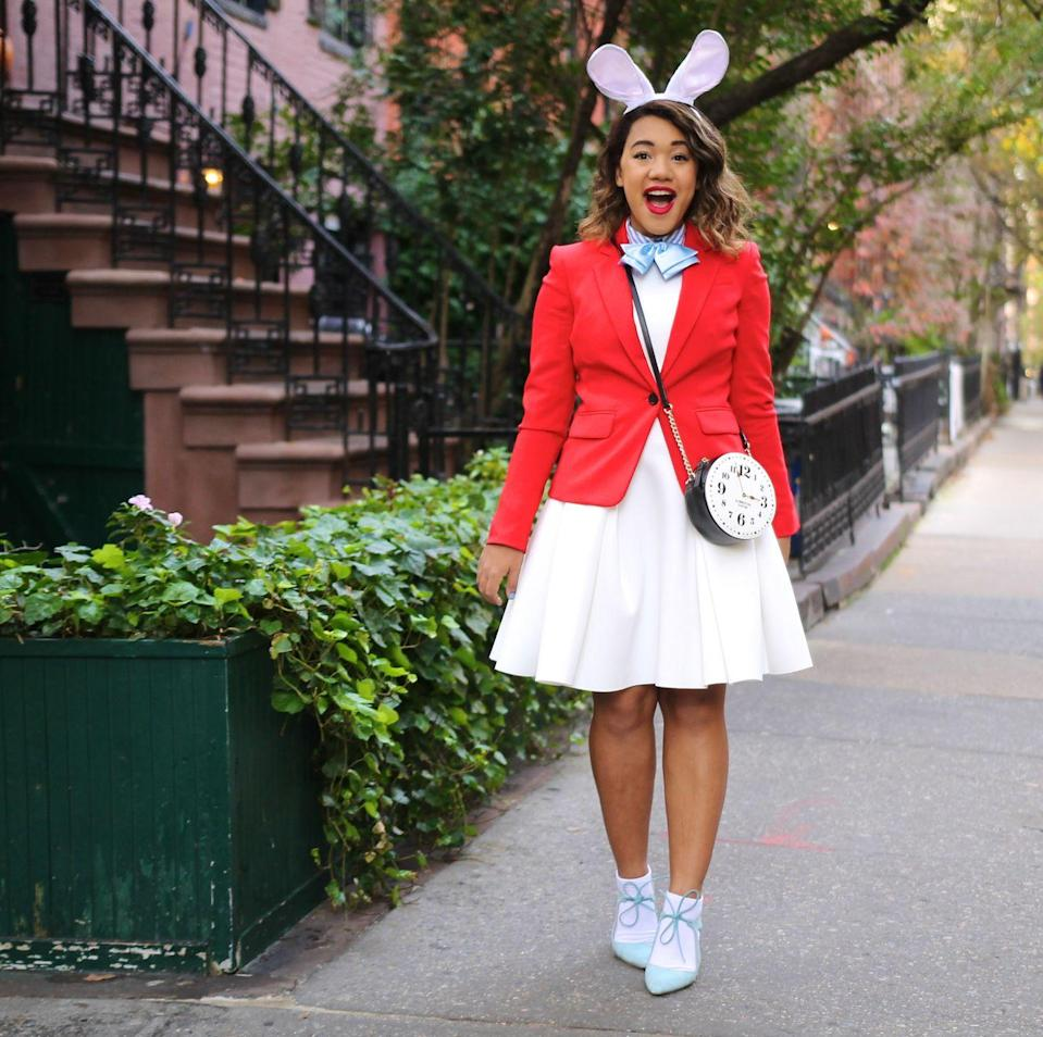 "<p>No getting lost down the rabbit hole with this simple DIY idea! If you have a white dress (or a white skirt and top) and a red blazer, you're more than halfway there. </p><p><strong>Get the tutorial at<a href=""https://www.colormecourtney.com/disney-diy-2-easy-halloween-costumes/"" rel=""nofollow noopener"" target=""_blank"" data-ylk=""slk:Color Me Courtney"" class=""link rapid-noclick-resp""> Color Me Courtney</a>. </strong></p><p><a class=""link rapid-noclick-resp"" href=""https://www.amazon.com/BinaryABC-Rabbit-Costume-Headband-Decoration/dp/B07GSPVWDP/ref=sr_1_2?tag=syn-yahoo-20&ascsubtag=%5Bartid%7C10050.g.29343502%5Bsrc%7Cyahoo-us"" rel=""nofollow noopener"" target=""_blank"" data-ylk=""slk:SHOP BUNNY EARS"">SHOP BUNNY EARS</a></p>"