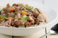 """<p>This red beans and rice dish is the perfect side to <a href=""""https://www.thedailymeal.com/entertain/25-best-party-foods-recipes-slideshow?referrer=yahoo&category=beauty_food&include_utm=1&utm_medium=referral&utm_source=yahoo&utm_campaign=feed"""" rel=""""nofollow noopener"""" target=""""_blank"""" data-ylk=""""slk:bring to the party"""" class=""""link rapid-noclick-resp"""">bring to the party</a>. It accompanies brisket, ribs, chicken and other barbecued meats.</p> <p><a href=""""https://www.thedailymeal.com/recipe/red-beans-and-rice?referrer=yahoo&category=beauty_food&include_utm=1&utm_medium=referral&utm_source=yahoo&utm_campaign=feed"""" rel=""""nofollow noopener"""" target=""""_blank"""" data-ylk=""""slk:For the Red Beans and Rice recipe, click here."""" class=""""link rapid-noclick-resp"""">For the Red Beans and Rice recipe, click here.</a></p>"""