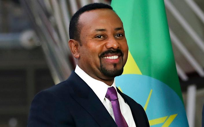 Ethiopian Prime Minister Abiy Ahmed, at the European council headquarters in 2019, is accused of a brutal crackdown on dissent - Francisco Seco/AP
