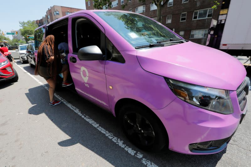 Via ride-sharing van operates in partnership with city-run bus system in Jersey City