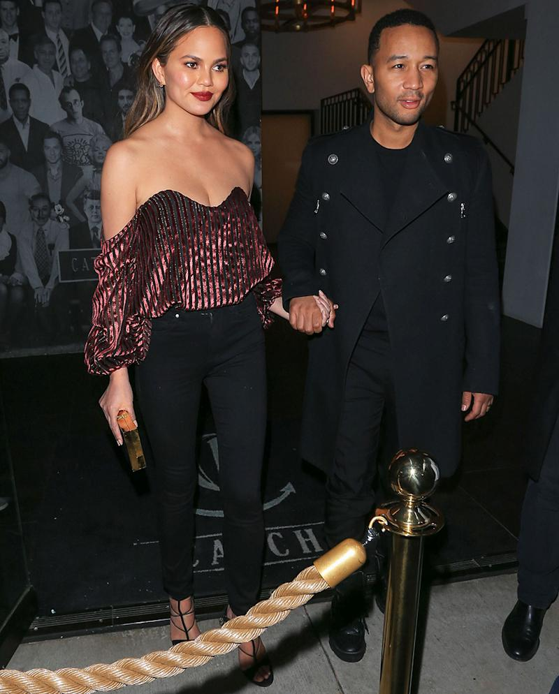 Chrissy Teigen Wows In Sparkly Red Top At Kris Jenner's