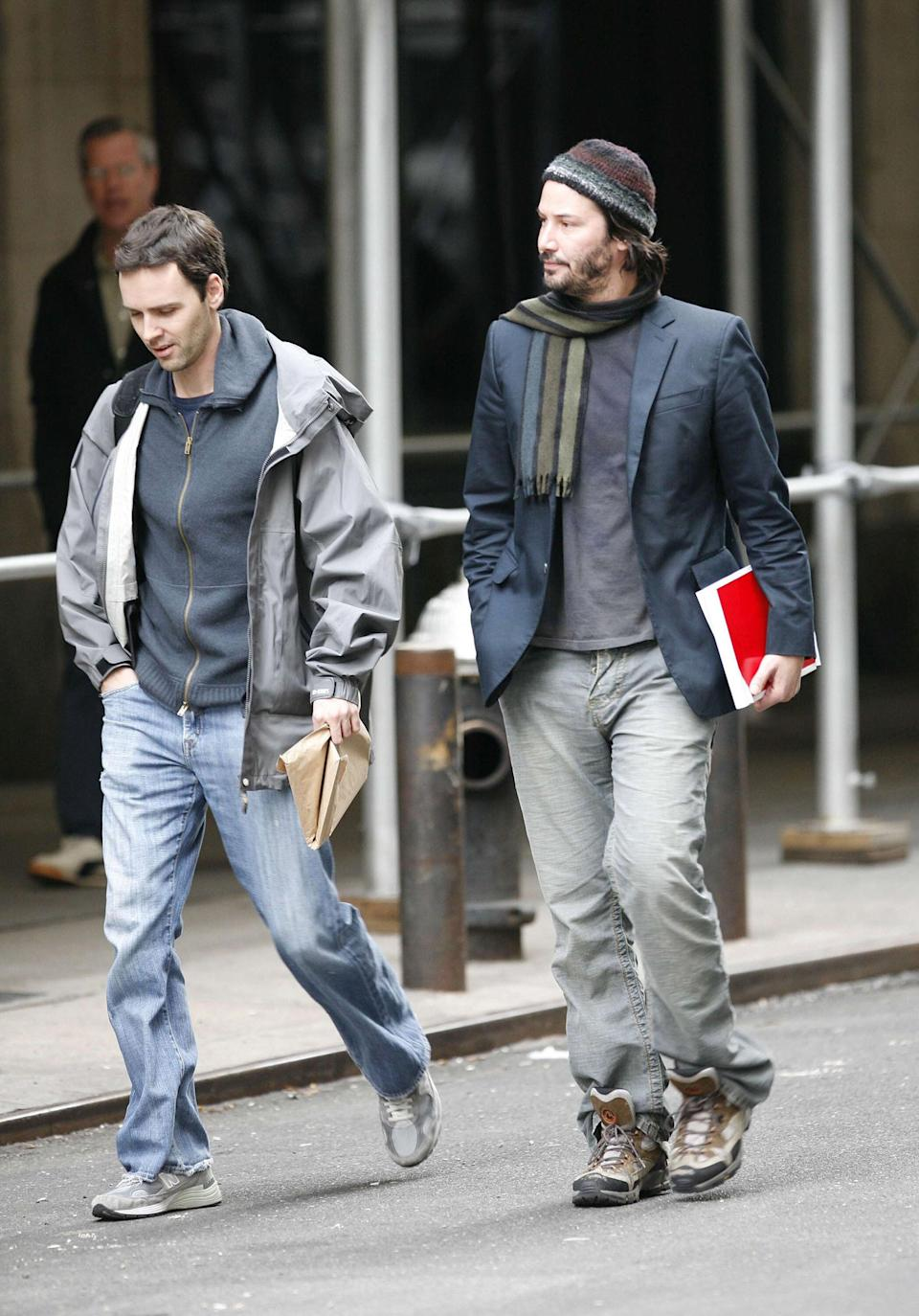 Reeves and friend in Chelsea in New York City.