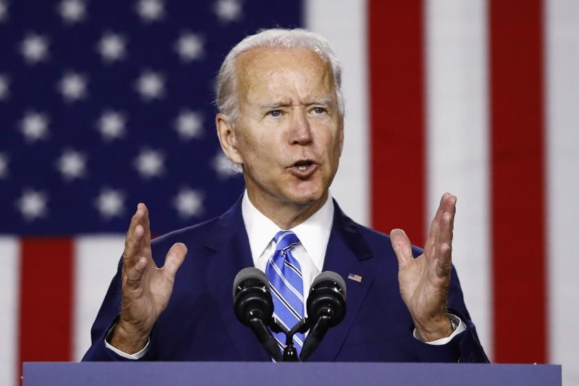 Democratic presidential candidate, former Vice President Joe Biden, speaks during a campaign event, Tuesday, July 14, 2020, in Wilmington, Del. (AP Photo/Patrick Semansky)