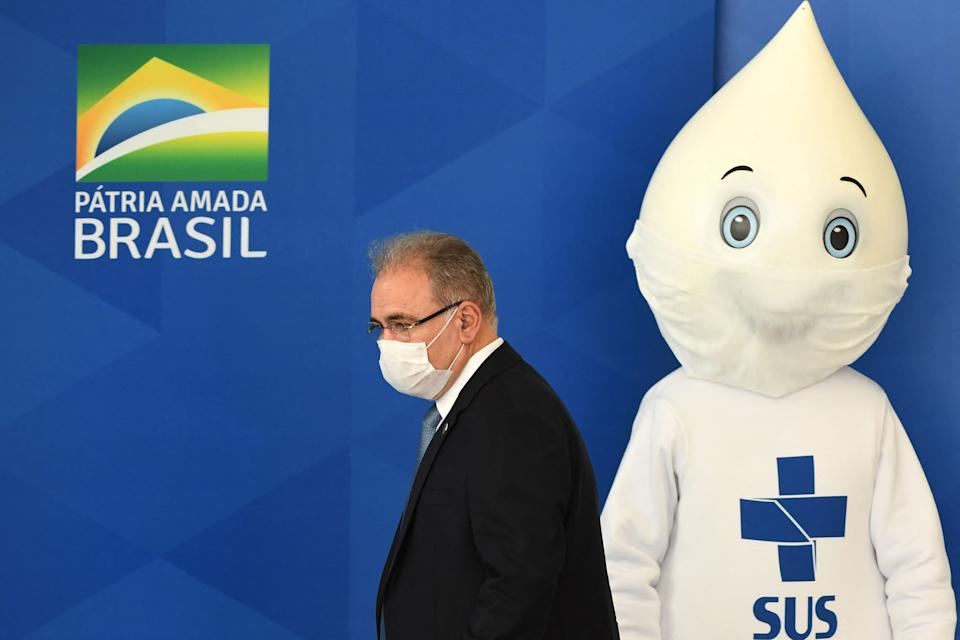 New Brazilian Health Minister Marcelo Queiroga arrives for a press conferente at Planalto Palace in Brasilia, on March 24, 2021. - Queiroga stated that President Jair Bolsonaro gave him