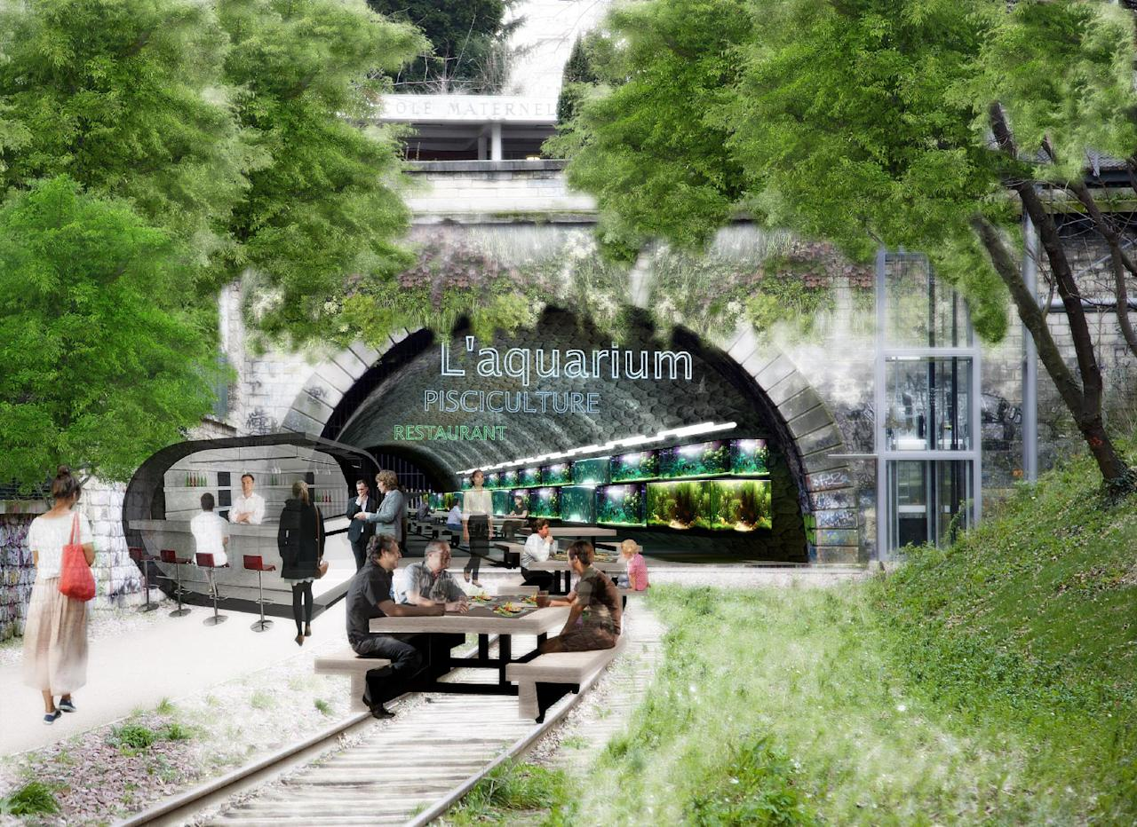 This computer image provided Monday March 17, 2014 by the Press Office of socialist candidate to Paris Mayor Anne Hidalgo, shows a tunnel of abandoned railway from the 19th century, now ramshackle and overgrown, turned into a restaurant and aquarium. Hidalgo's plan envisions not just a green space but in the tunnels, places for farming fish and mushrooms. (AP Photo/Anne Hidalgo's Press Office)