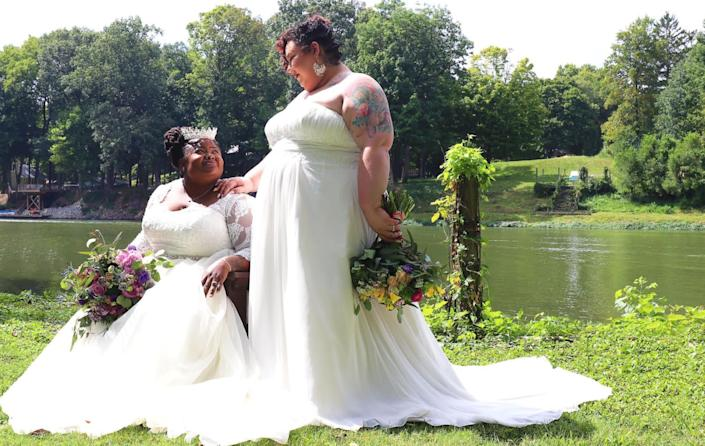 The author (right) with her wife, Jodyann Morgan, on their wedding day. (Photo: <a href=&quot;https://www.naturalnerddesigns.com/&quot; target=&quot;_blank&quot;>Photo by Danielle Lawson, Natural Nerd Designs</a>)