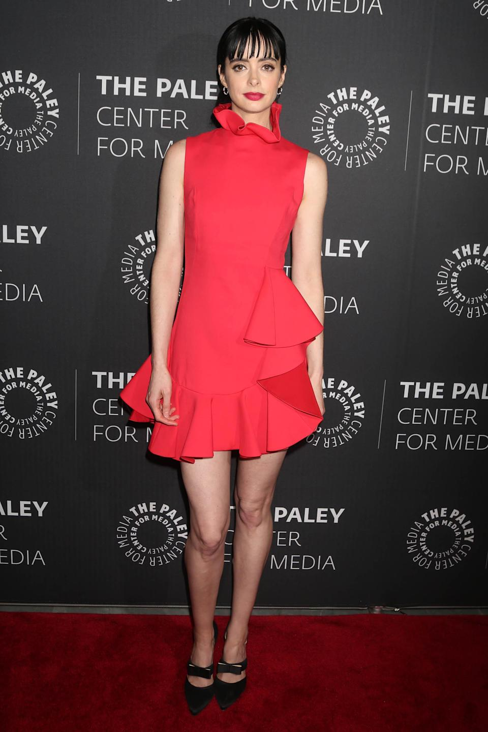 <p>Krysten Ritter matched her lippy with her dress at a 'Jessica Jones' TV show panel in New York (Rex features) </p>
