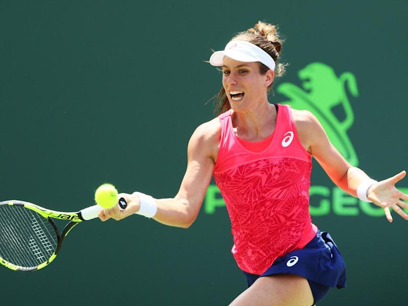Konta returns a shot in the last set of the final (Getty)