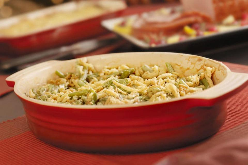 "<p>Campbell's Green bean casserole was first created by a recipe supervisor at the soup company in Camden, New Jersey, in 1955. According to <a href=""https://www.today.com/food/love-it-or-hate-it-green-bean-casserole-celebrates-60th-t58181"" rel=""nofollow noopener"" target=""_blank"" data-ylk=""slk:Today"" class=""link rapid-noclick-resp""><em>Today</em></a>, the beloved dish can be found on dinner tables in 30 million households across the country during the holiday season.</p>"