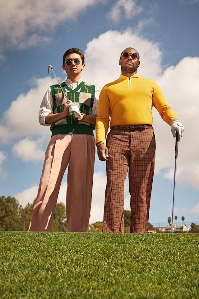 """<cite class=""""credit""""><em>From left</em> <strong>On Cole Young:</strong> Sweater-vest, $325, by Ami / Shirt, $10, by H&amp;M / Pants $1,150, Gucci / Watch, $2,650, Montblanc 