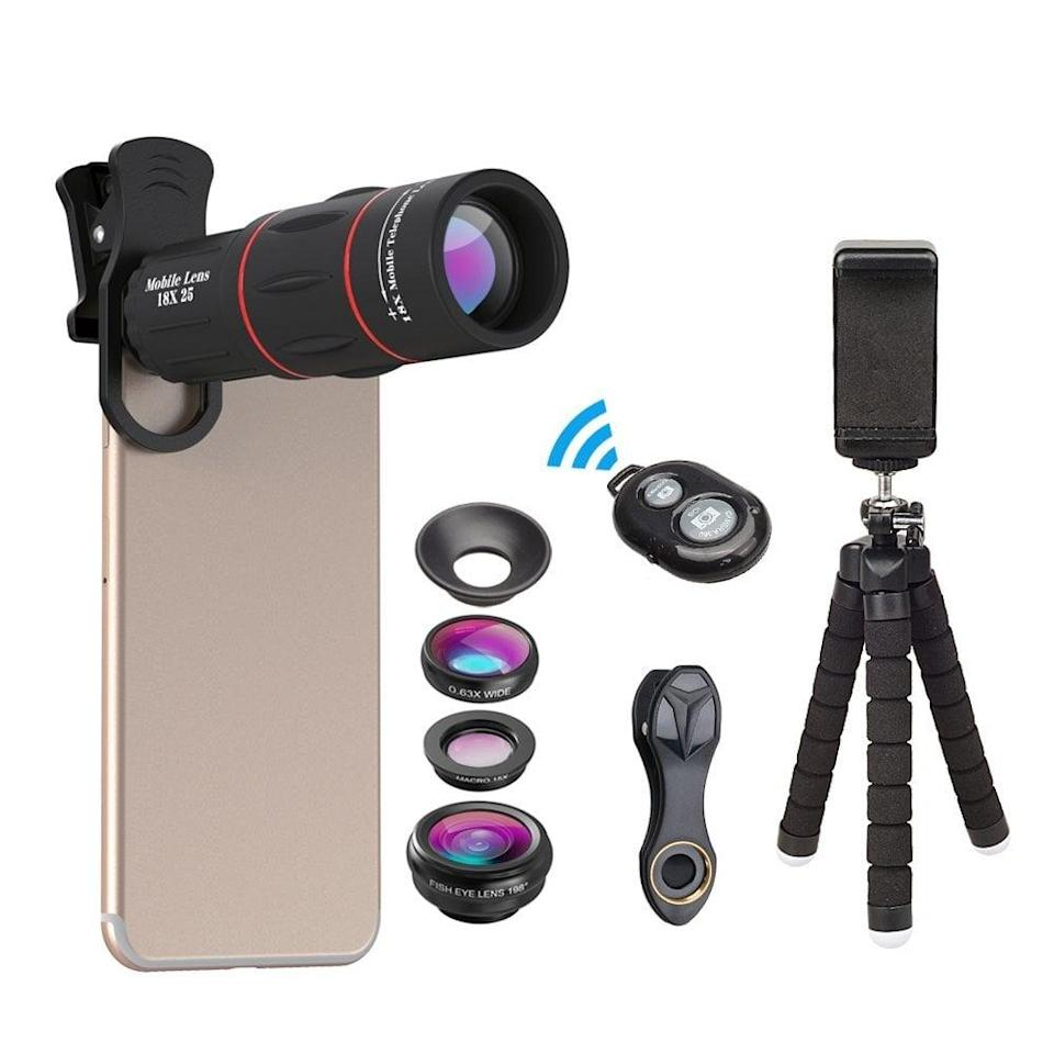 <p>This <span>Apexel Phone Photography Kit</span> ($19) will satisfy all their mobile photography needs. They can create the perfect shot without carrying around clunky photography gear.</p>