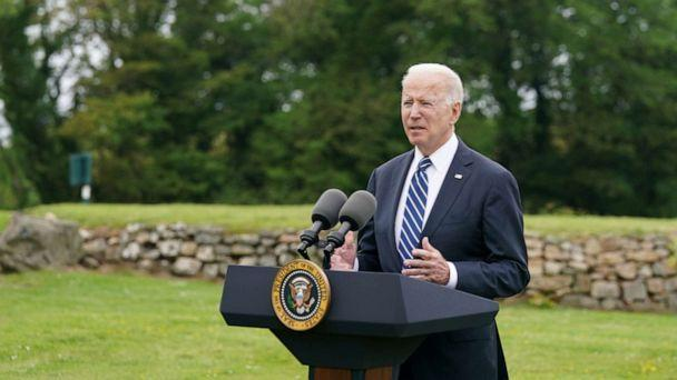 PHOTO: President Joe Biden speaks about his administration's pledge to donate 500 million doses of the Pfizer coronavirus vaccine to the world's poorest countries, during a visit to St. Ives in Cornwall, Britain, June 10, 2021. (Kevin Lamarque/Reuters)