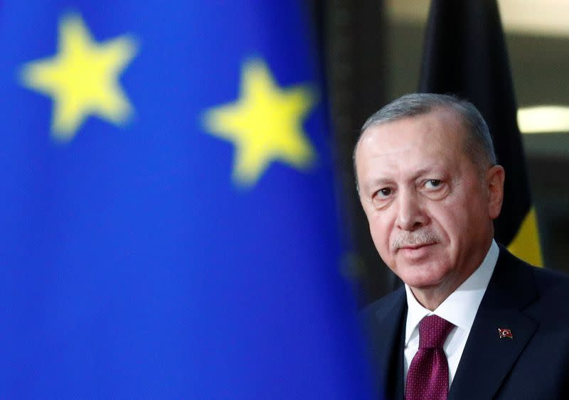 Turkish President Tayyip Erdogan arrives for a meeting with EU Council President Charles Michel in Brussels