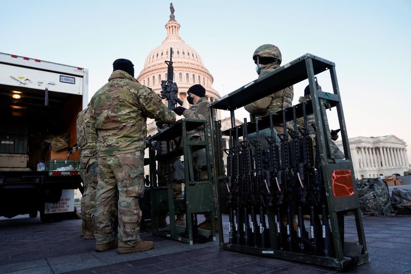Members of the National Guard gather at the U.S. Capitol in Washington