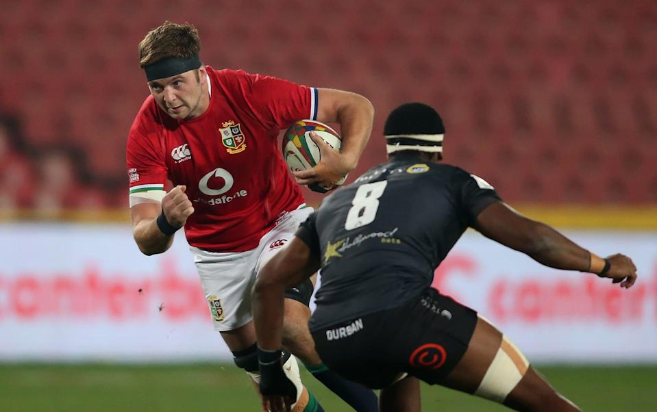 British & Irish Lions captain Iain Henderson on the attack at Emirates Airline Park on July 7, 2021 in Johannesburg, South Africa. - GETTY IMAGES