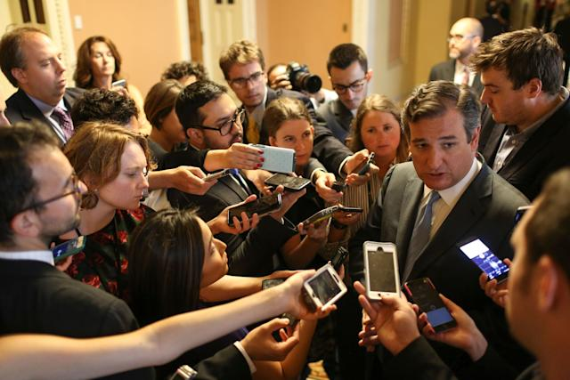 Sen. Ted Cruz (R-Texas) speaks to members of the media after announcing the revised version of the Senate Republican health care bill on Capitol Hill on July 13, 2017.