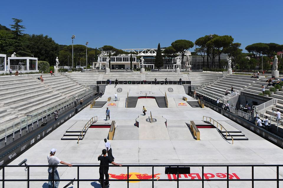 Skateboarders practice during the Street World Championships 2021 street skateboarding event on June 03, 2021 at Foro Italico in Rome. (Photo by Tiziana FABI / AFP) (Photo by TIZIANA FABI/AFP via Getty Images)