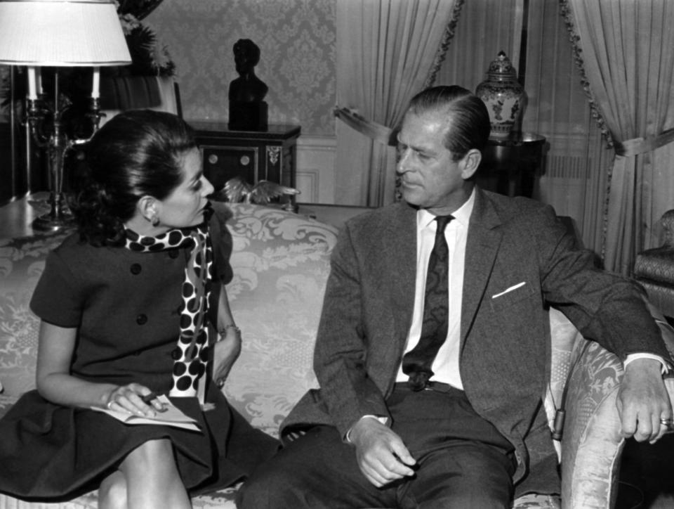 TODAY -- PRINCE PHILIP -- Pictured: (l-r) Barbara Walters interviewing Prince Philip, Duke of Edinburgh on NBC News'