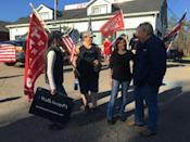 Trump supporters outside Jones Diner in Towanda, Pennsylvania