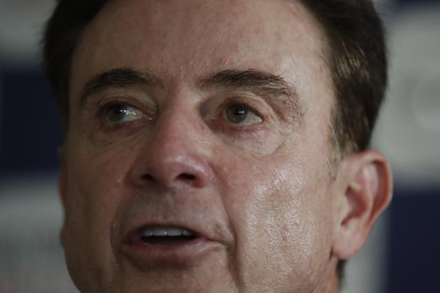 Rick Pitino the new coach of the Greek national basketball team answers to a question during a press conference in Athens, Monday, Nov. 11, 2019. The 67-year-old American has agreed to coach the Greek national basketball team and lead its effort to qualify for the 2020 Tokyo Olympics. (AP Photo/Thanassis Stavrakis)