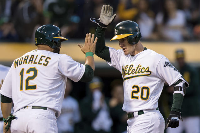 Oakland Athletics Mark Canha (20) celebrates with Kendrys Morales (12) after hitting a two-run home run against the Los Angeles Angels in the fourth inning of a baseball game, Saturday, March 30, 2019 in Oakland, Calif. (AP Photo/John Hefti)