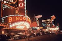 <p>Fremont Street at night in 1955. It is among the most famous streets in the Las Vegas Valley, besides the Las Vegas Strip.</p>