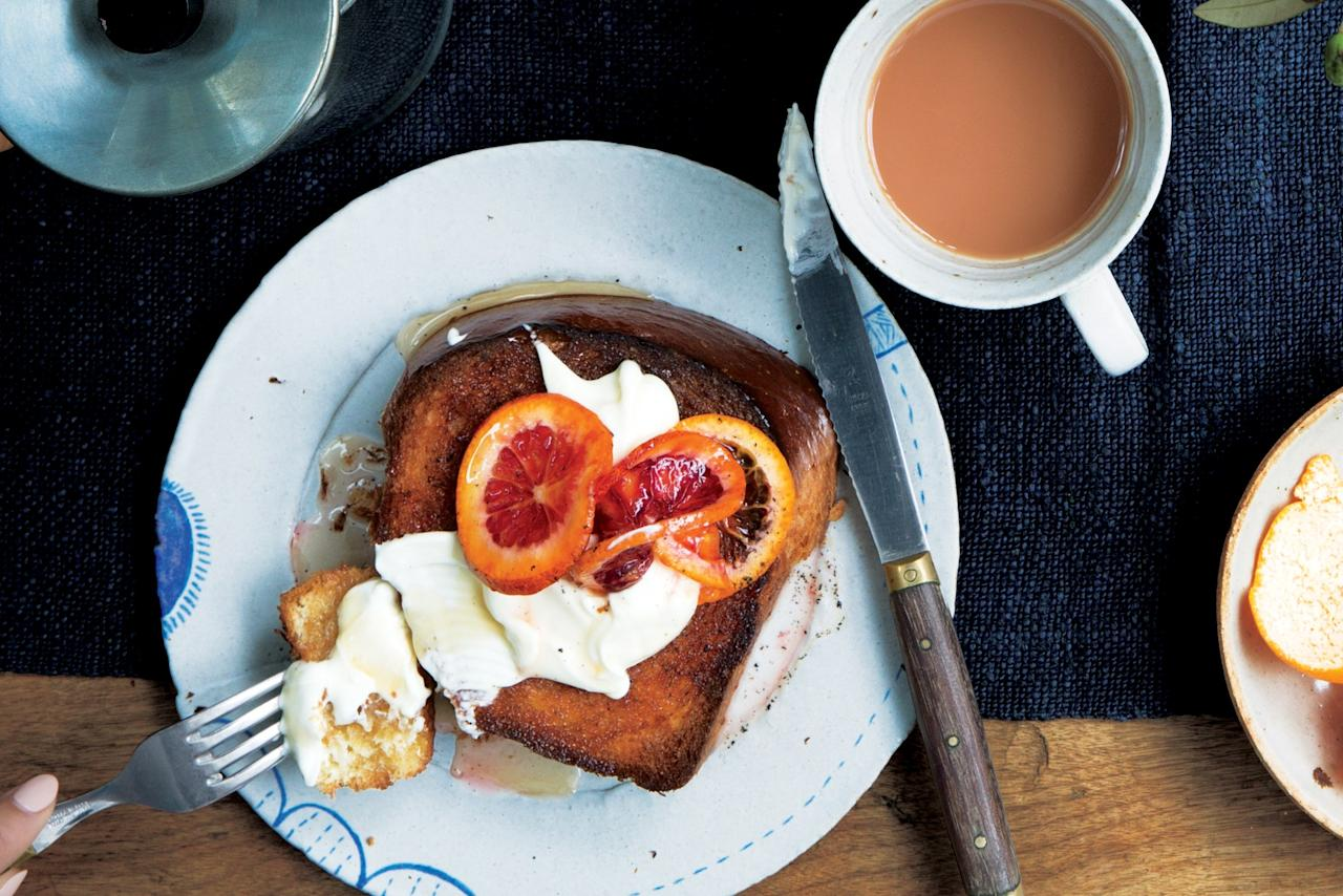 """These thick slices of toast, slathered with cinnamon butter and topped with fruit, might just become your new favorite weekend morning tradition. <a href=""""https://www.epicurious.com/recipes/food/views/maple-cinnamon-toast-with-citrus-and-creme-fraiche?mbid=synd_yahoo_rss"""">See recipe.</a>"""